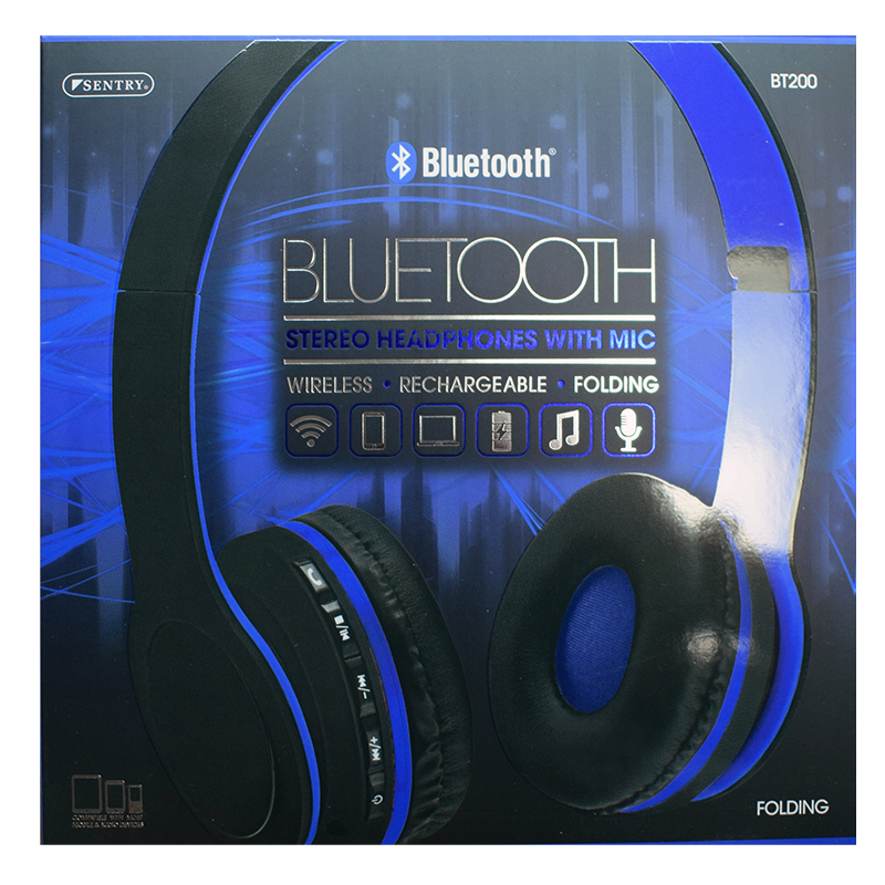 Headphones Sentry Bluetooth With Mic Assorted Colors (SKU 10425558167)